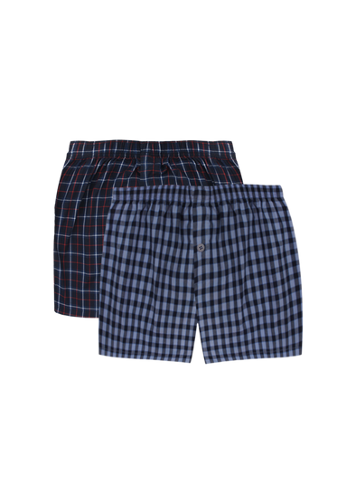 Comfortable Red Checks + Blue Checks Woven Boxer Shorts Pair Pack
