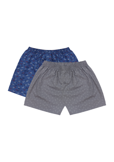 Comfortable Lazy Bicycles + Glasses Woven Boxer Shorts Pair Pack
