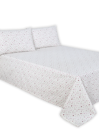 White Butterfly Double Bed Sheet