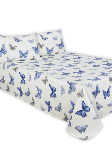 Blue Butterfly Double Bed Sheet