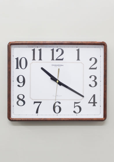 CCB 7680 Brown Frame Rectangular Wall Clock