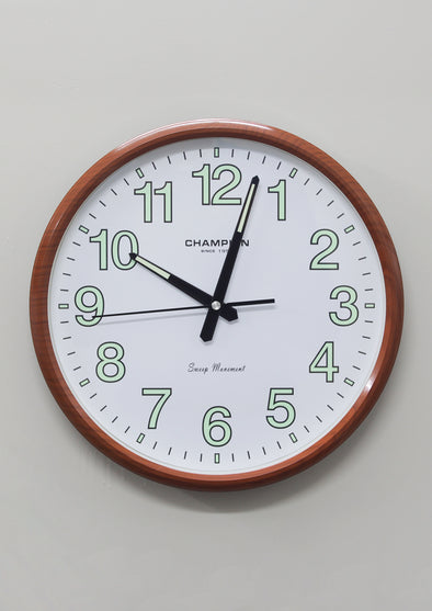 CCB 7698 Brown Frame Round Wall Clock