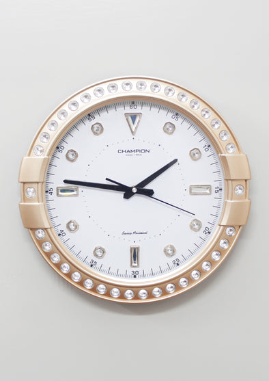CCB 7705  Gold Frame Round Wall Clock