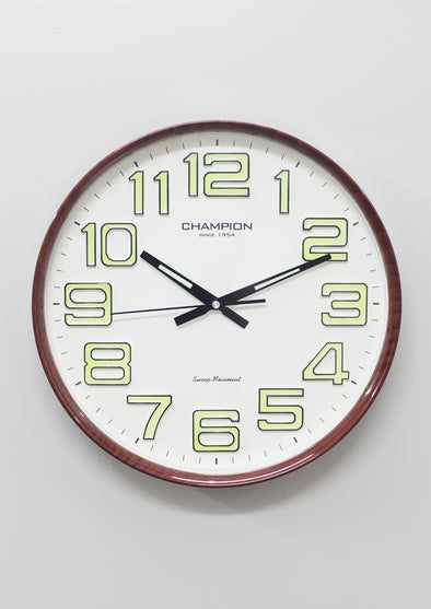 7712 Brown Frame White Round Wall Clock