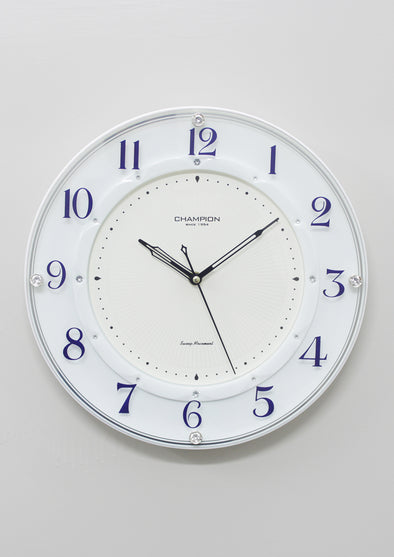 7713 White Frame Round Wall Clock