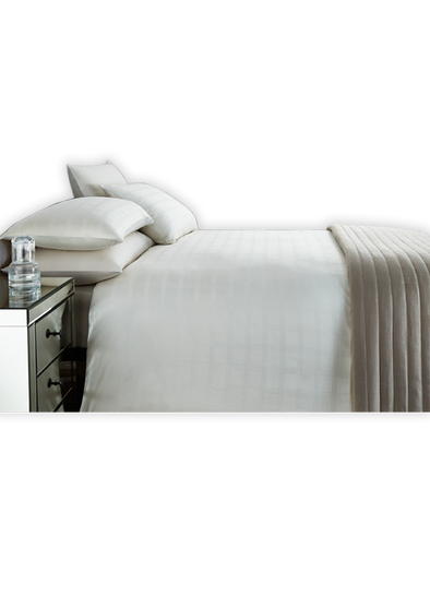 Box Stripe Sateen Cream Double Bed Sheet