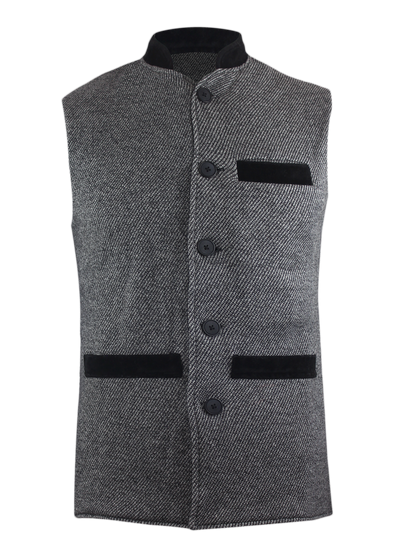 Cross Fleece Button Down Grey Melange Waist Coat