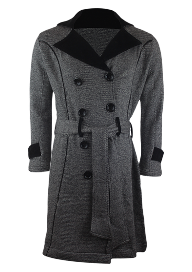 Cross Fleece Women's Button Down Grey Melange Long Coat