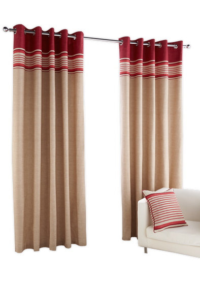 David Stripe Red Pair Pack Ring Curtains