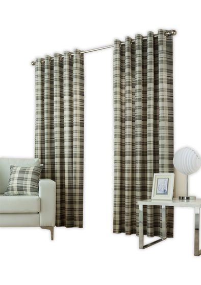 Burb Check Charcoal Pair Pack Ring Curtains