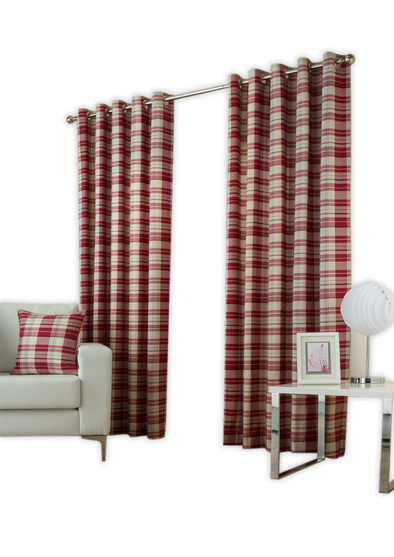 Burb Check Red Pair Pack Ring Curtains