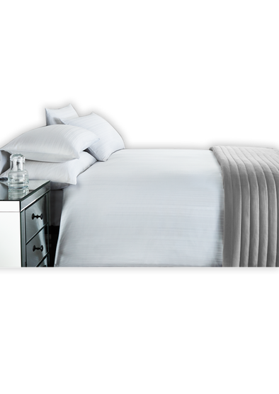Stripe Sateen White Double Bed Sheet