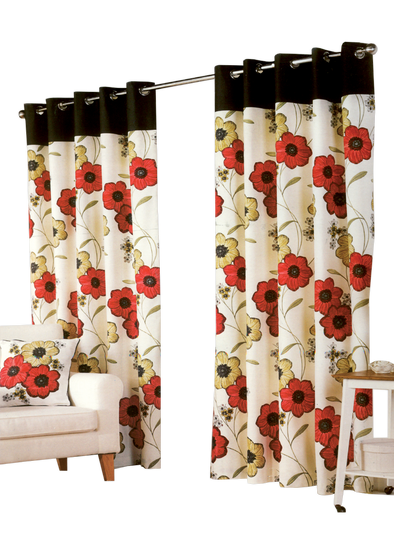 Crimson Red Pair Pack Ring Curtains