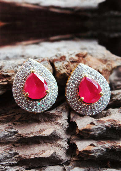 Silver With Fuchsia Stone Earrings