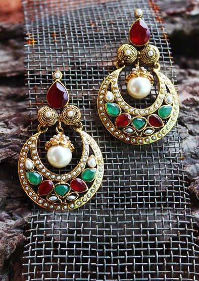 White Pearl With Multi-Colored Stones Copper Earrings