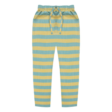 Women's Premio Cotton Aqua & Peach Striped Lounge Pants