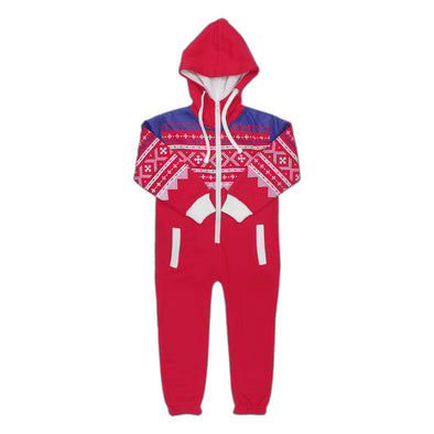 Kids Unisex Red Aztec Printed Youth Jumpsuit