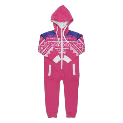 Kids Unisex Pink Aztec Printed Youth Jumpsuit