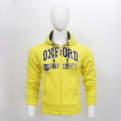 Yellow Oxford Zip Through Hoodie