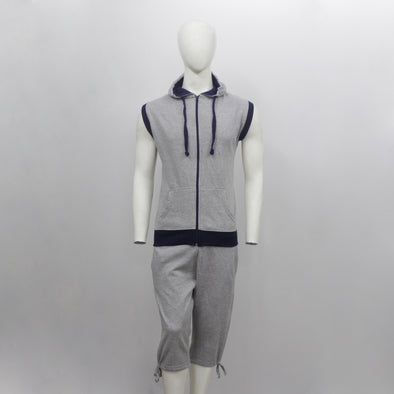 Grey Melange Sleeveless Hoodie & 3/4 Sweat Pants Pair Pack