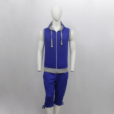 Royal Blue Sleeveless Hoodie & 3/4 Sweat Pants Pair Pack