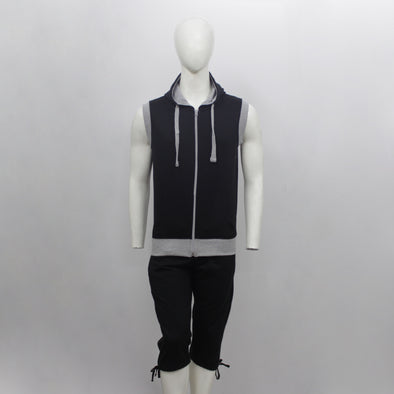 Black Sleeveless Hoodie & 3/4 Sweat Pants Pair Pack