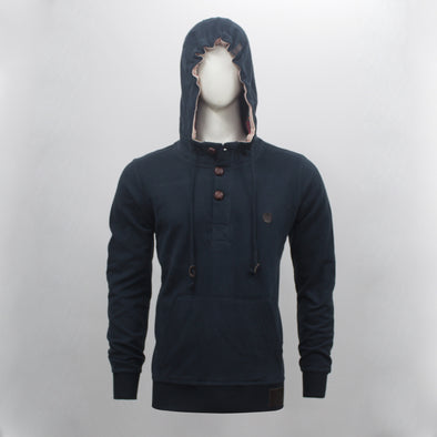 Navy Blue Wood Button Placket Pullover Hoodie