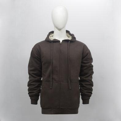 Brown Sherpa Lined Zip Through Hoodie