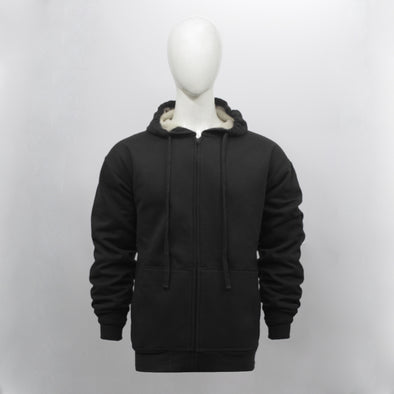 Black Sherpa Lined Zip Through Hoodie