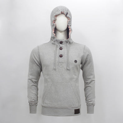 Grey Melange Wood Button Placket Pullover Hoodie