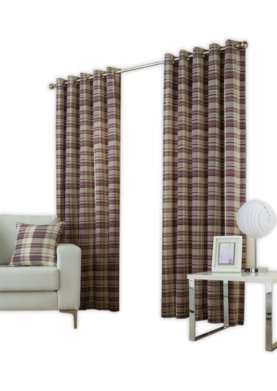 Burb Check Plum Pair Pack Ring Curtains