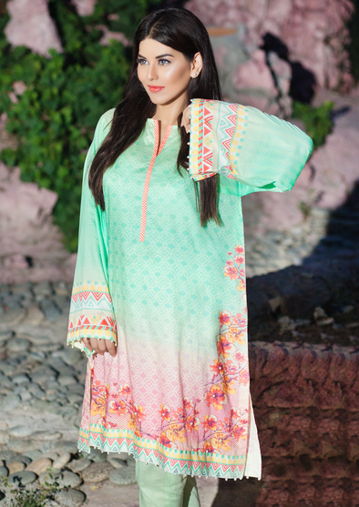 Exquisite Green Printed Cotton Lawn Long Sleeves Kurta