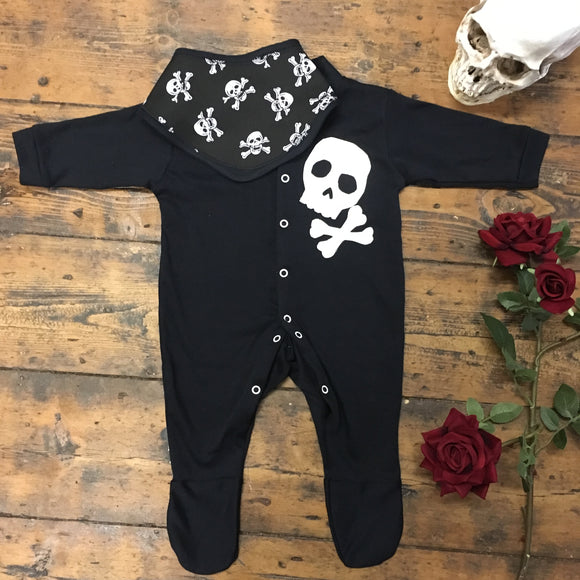 Skeletots skull & bones romper set