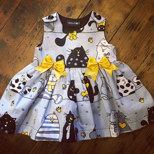 Skeletots grey/mustard cats dress