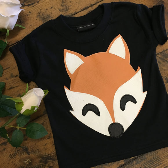 Skeletots Black applique fox kids baby t-shirt