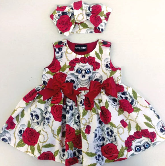 Skeletots skull & rose tattoo dress red/ivory