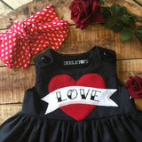 Skeletots Black love scroll tattoo dress