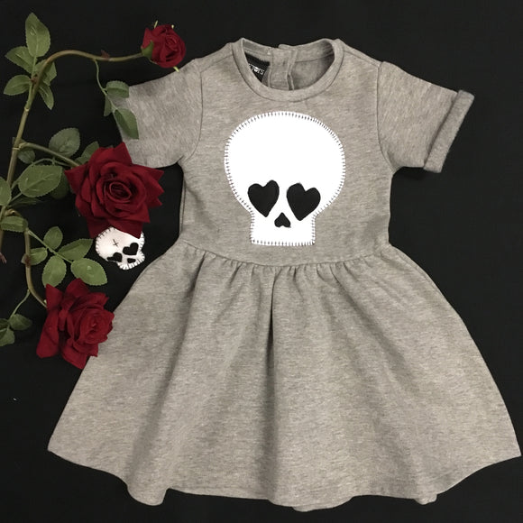 Skeletots Grey love skulls  dress