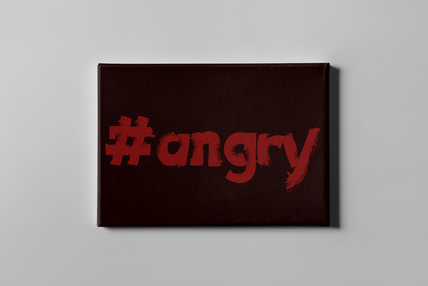 #angry - motivational art canvas print on white wall