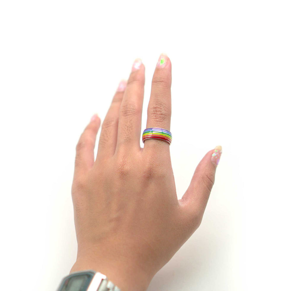 STAINLESS STEEL RAINBOW RING