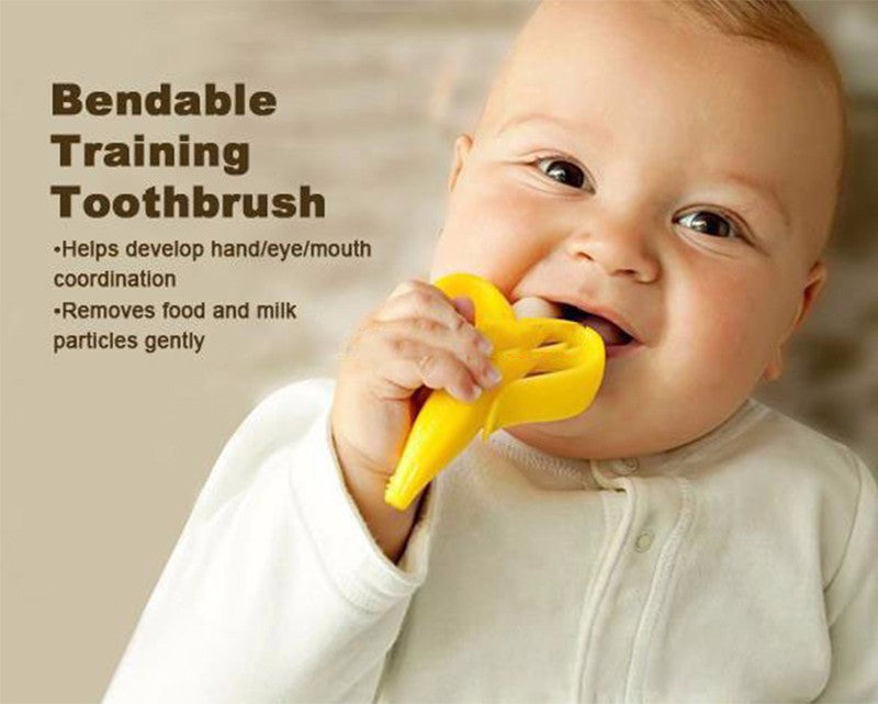 Soft Safe Banana Silicone Baby Infant Training Toothbrush and Teether