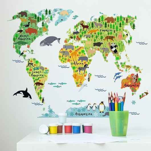 Animal world map wall sticker your baby hero wall stickers animal world map wall sticker gumiabroncs Image collections