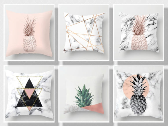 Pink Geometric Tropic Pillow Case