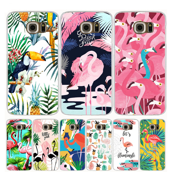Pink Flamingos & Tropic Leaves Samsung Phone Cases