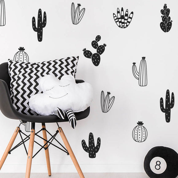 Different Cactus Designed Wall Stickers