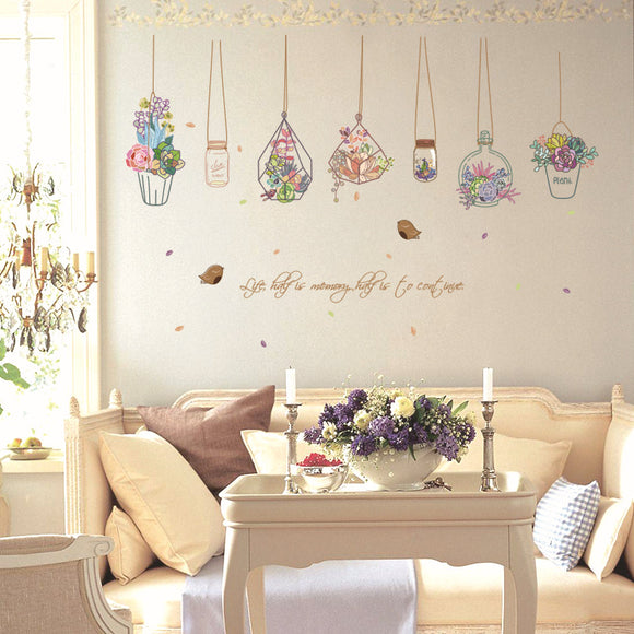 Vintage Flower Pots Designed Wall Stickers
