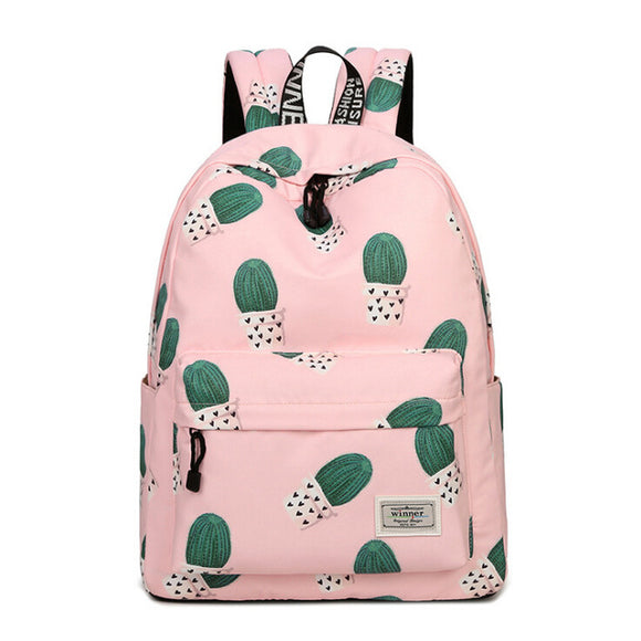 Pink Cactus Designed Backpack