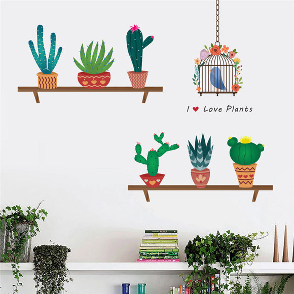 Cactus & Aloe Vera & Flower Pots Designed Wall Stickers