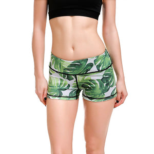 Green Tropical Forest Palm Leaves Exercise Shorts