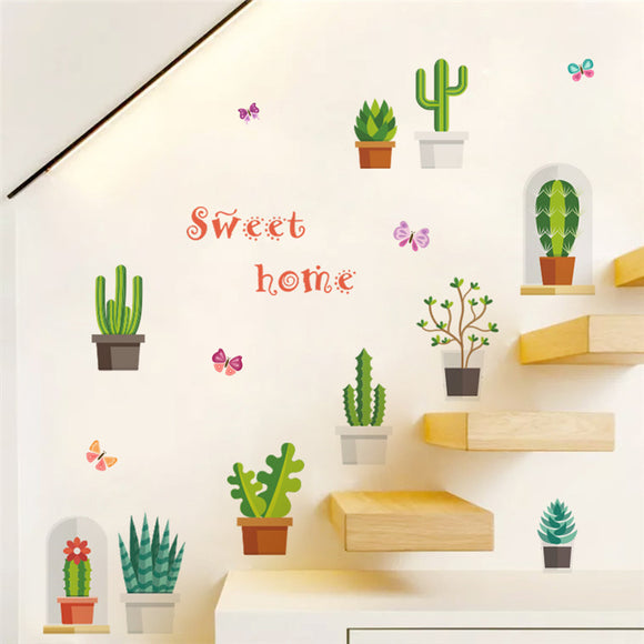 Cactus Flowerpot Wall Stickers